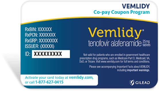 VEMLIDY® (tenofovir alafenamide) Co-pay Coupon Card